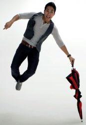 man jumping on whitesweep