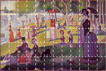 Georges Seurat's famous Sunday Afternoon on the Island of La Grande Jatte with grid lines shown on top