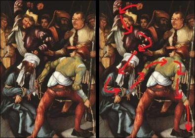 Grunewald's painting shown with and without eye movement lines