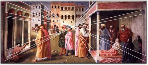 Masolino's painting with perspective lines shown