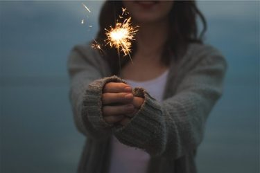 stock photo of girl with sparkler