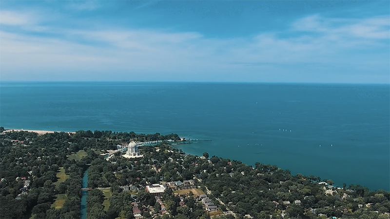 Drone footage still of the Chicago coast
