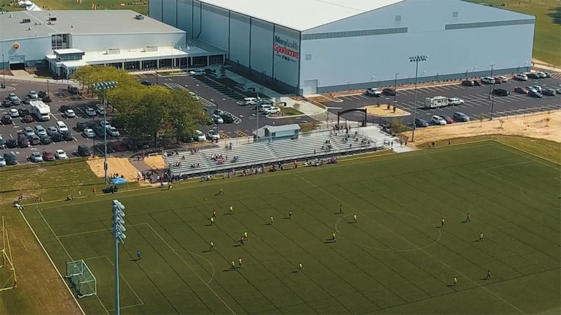 Still shot of drone footage of soccer game